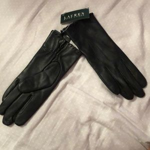 Black leather Ralph Lauren gloves